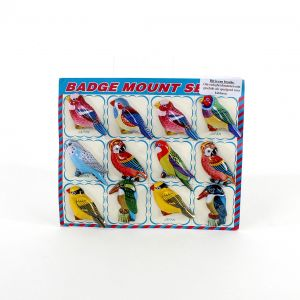 Kaart met 12 vogel badges